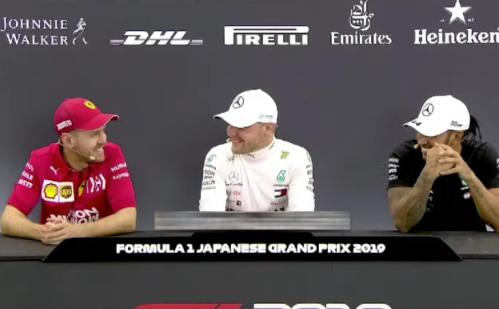 Funny Moment Between Lewis, Sebastian & Valtteri During Press Conference