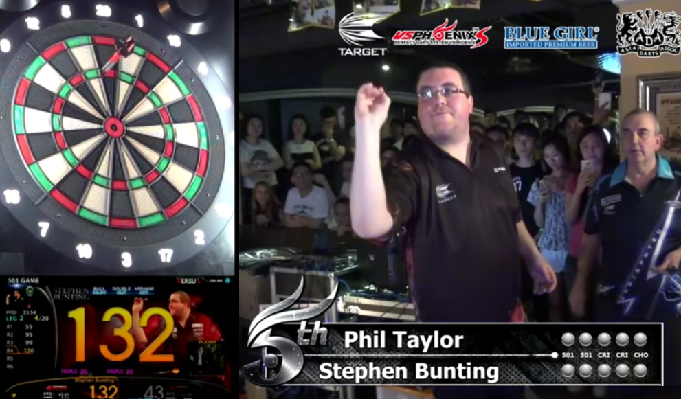 Phil Taylor Playing Against Stephen Bunting In Soft Tip Darts Match