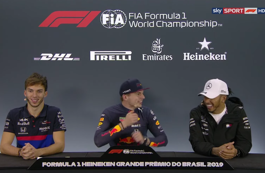 Funny Moment Between Lewis Hamilton And Max Verstappen