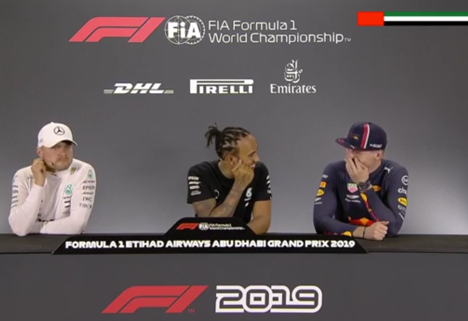 Lewis Hamilton And Max Verstappen Having Fun About Girls In Abu Dhabi
