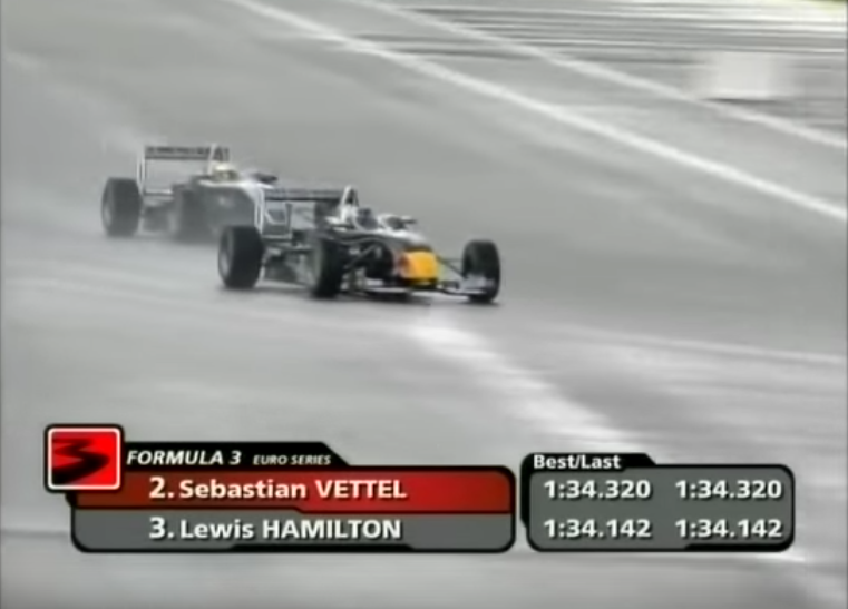 Great Fight Between Sebastian Vettel And Lewis Hamilton In Equal Cars