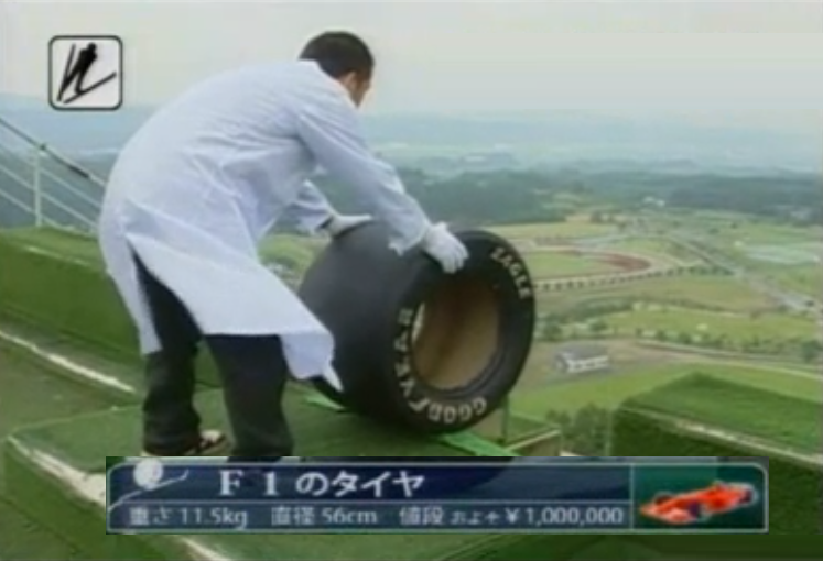 Japanese Tyre Ski Jump Challenge Including A Formula 1 Tyre