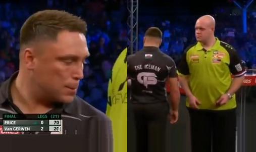 Tense Moments Between Gerwyn Price And Michael van Gerwen In Final