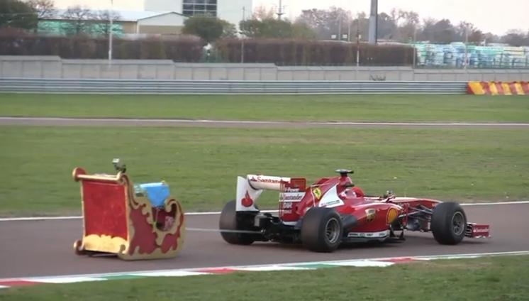 Watch Santa Driving A Ferrari Formula One Car With Sleigh