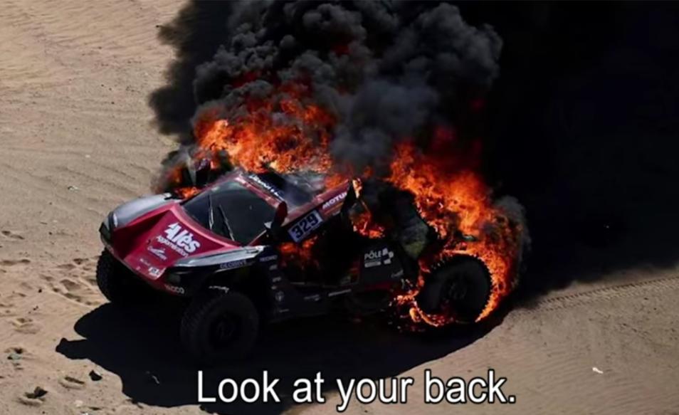 Romain Dumas' Car Caught Fire In First Stage Dakar 2020