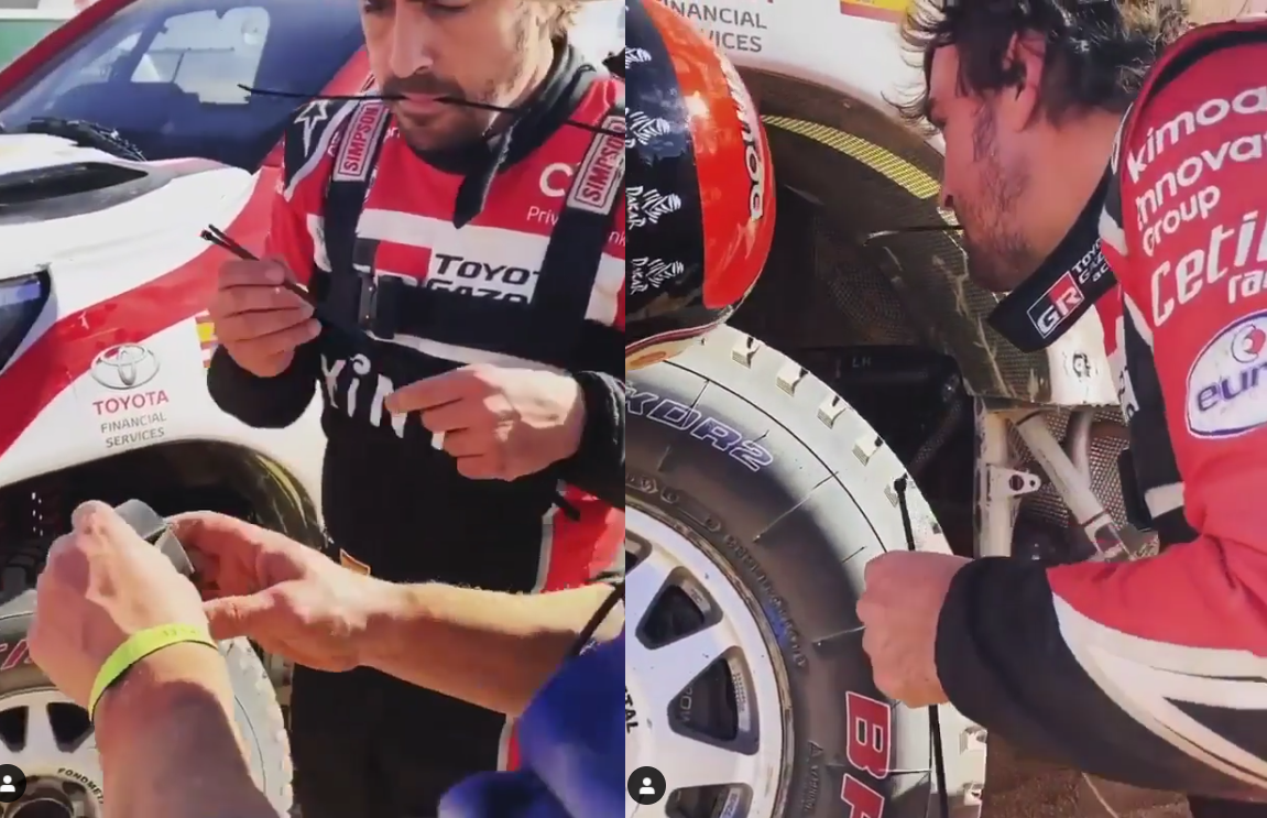 Fernando Alonso Fixing His Ride With Duct Tape And Zip-Ties