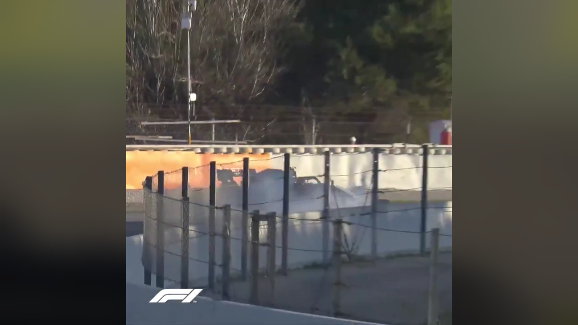 VIDEO: Romain Grosjean First Driver Who Crashes In Barcelona