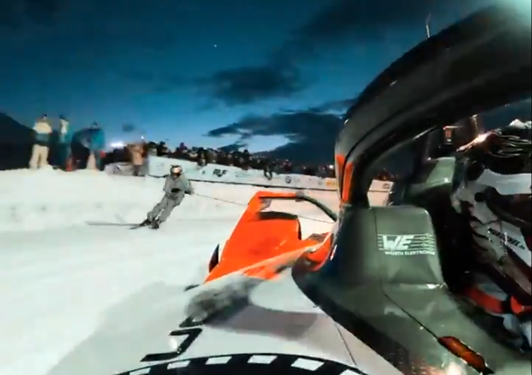 Watch Freestyle Skier In Action Behind This Formula E Car