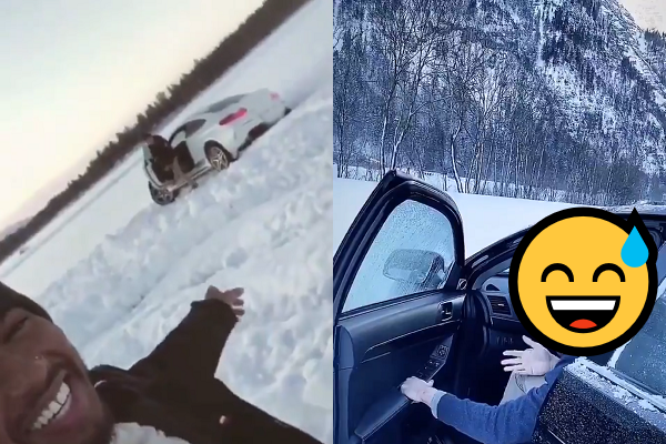This F1 Mercedes Team Member Crashed TWICE In Snow Yesterday 😄
