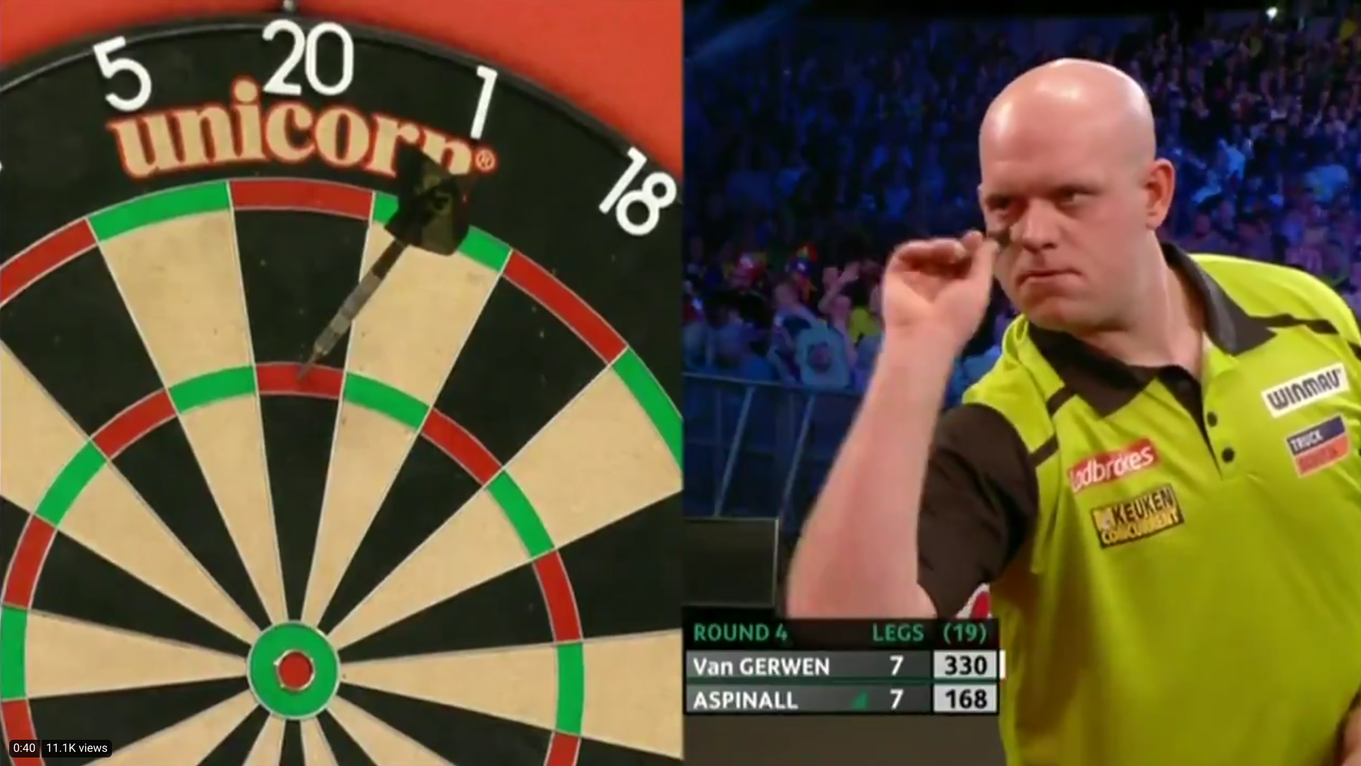 VIDEO: Van Gerwen Hits 6 Perfect Darts From 330 Against Aspinall