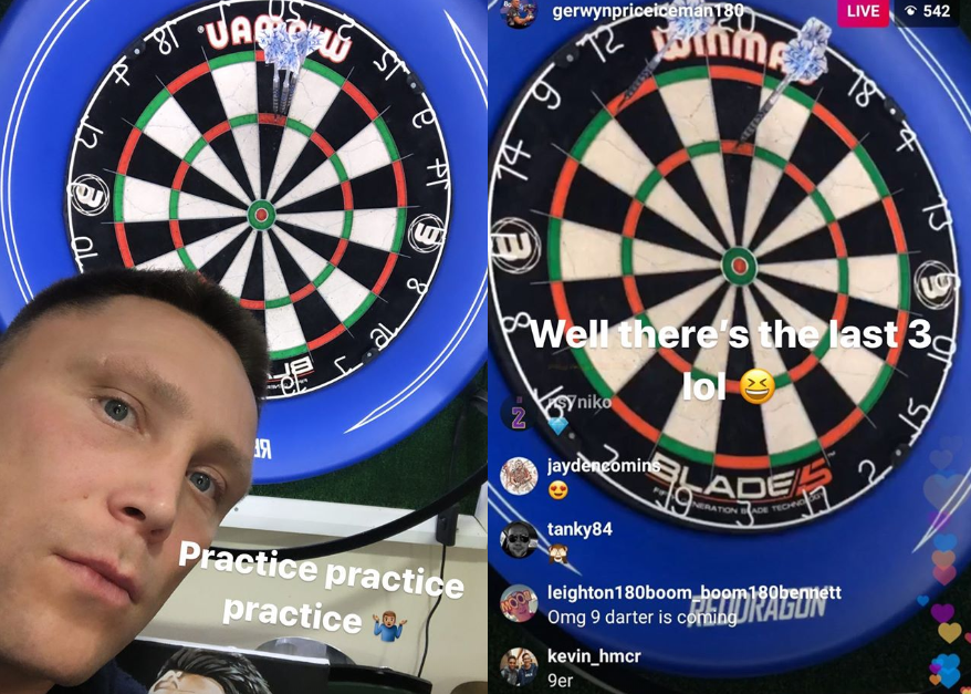 Gerwyn Price Hits 9-Darter LIVE On Instagram During Practice Session
