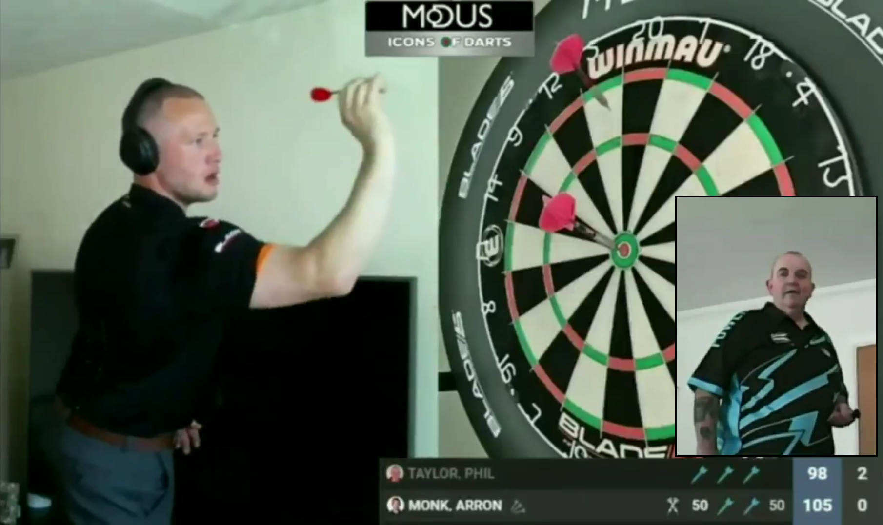 Arron Monk's Bull Bull Exhibition Shot In His Game Against Phil Taylor