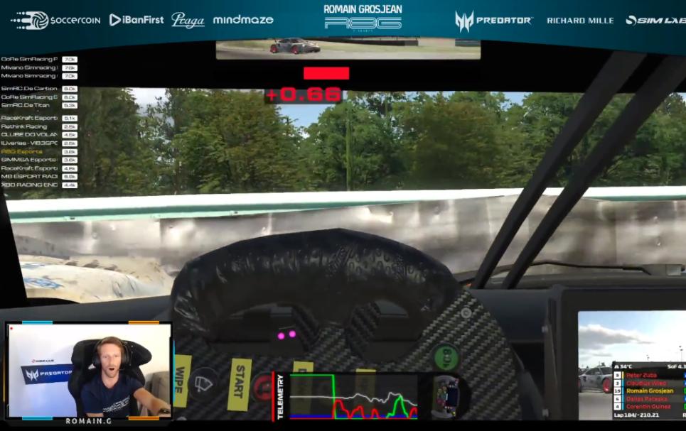 Watch Romain Grosjean Crashing 4 Times During Online Battle