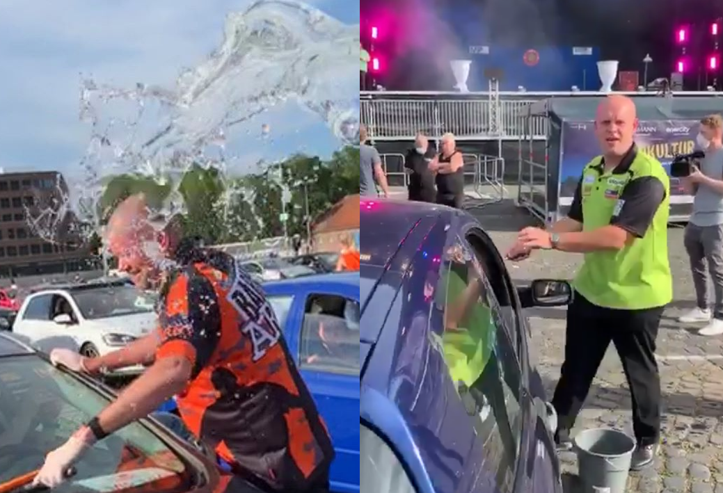 VIDEO: Van Gerwen Throws Bucket of Water Over Barney at Drive-In Darts Gala