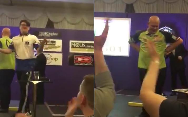 VIDEO: 14 Year Old Kid Beats Michael van Gerwen On Stage