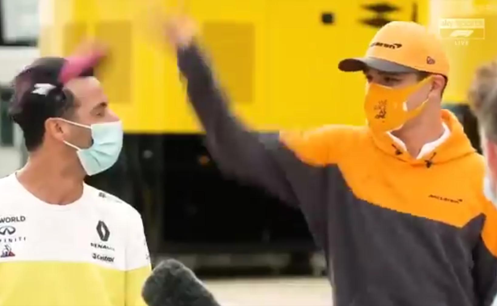 VIDEO: Lando Norris Flips Daniel Ricciardo's Cap During Interview