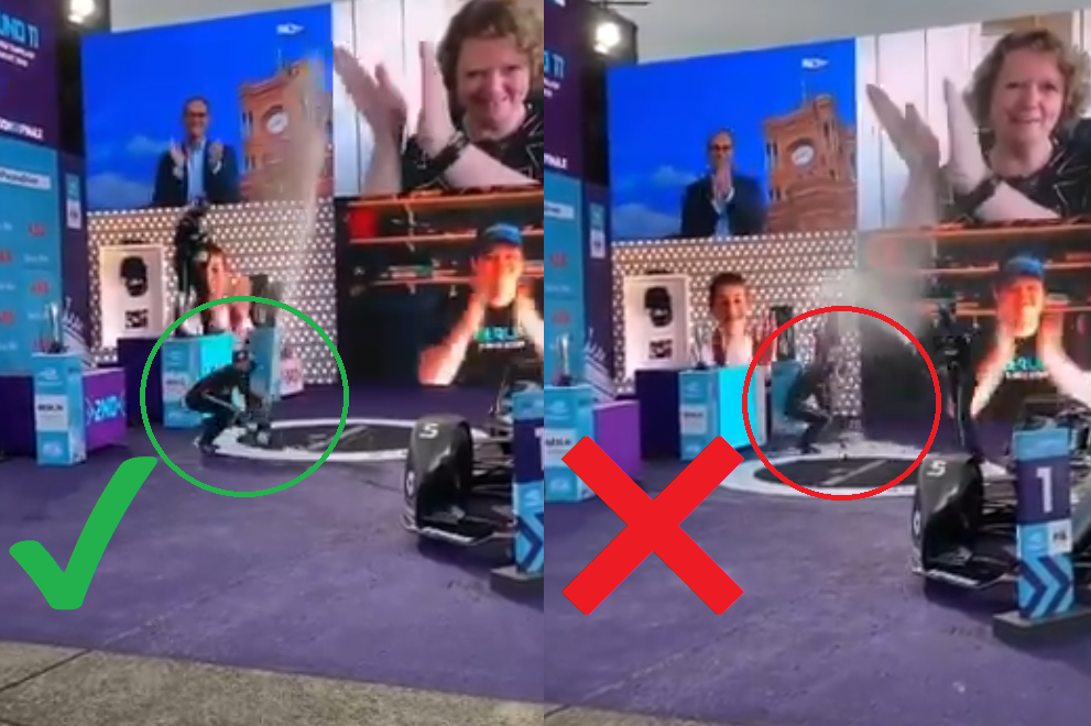 Hilarious Fail by Stoffel Vandoorne at Stage After Formula E Victory