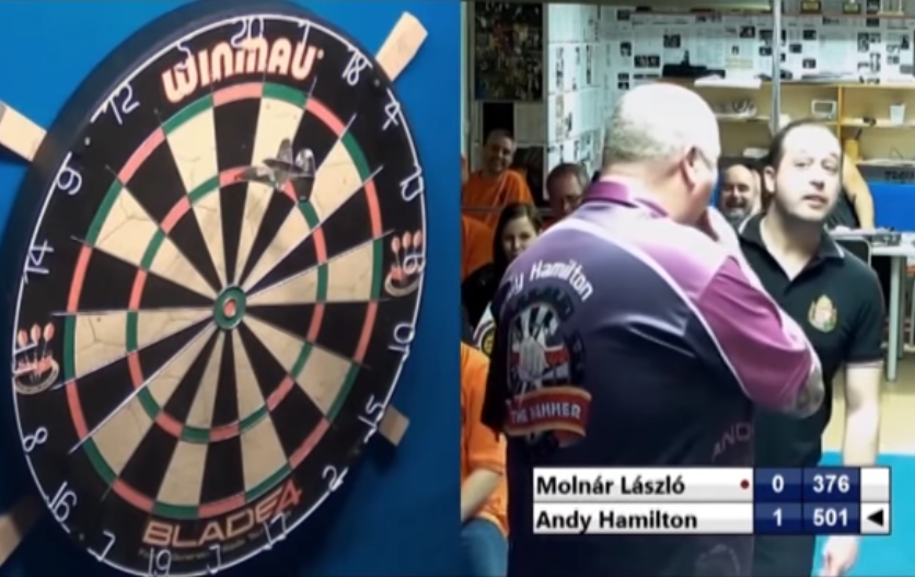 VIDEO: Andy Hamilton Hits 180 With 1 Dart Of His Opponent
