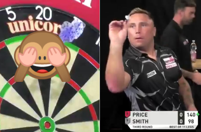 VIDEO: Gerwyn Price's Silly Mistake At Autumn Darts Stage Today
