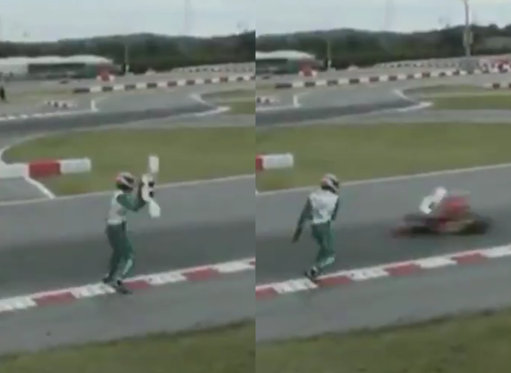 VIDEO: Bizarre Footage Driver Throwing Kart Bumper At Competitor