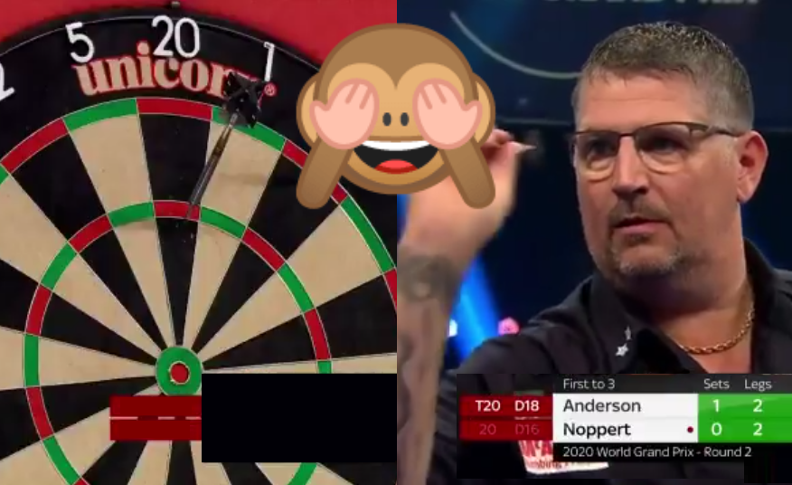 VIDEO: Gary Anderson Missed The Dartboard In Match Last Night