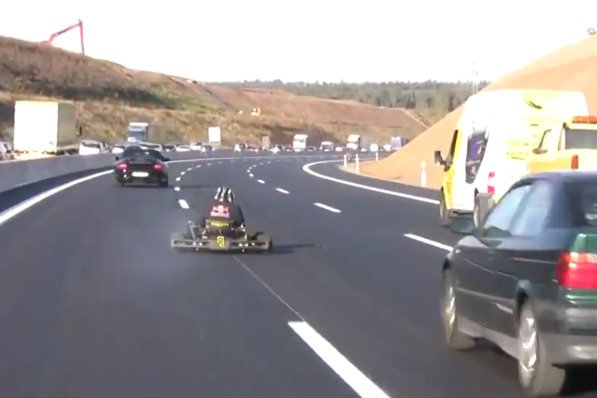VIDEO: 'Red Bull Driver' Caught Racing On Highway In A Kart