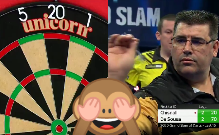 Bizarre Moment When De Sousa Says Chisnall Won't Checkout Double 10
