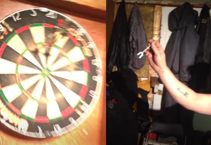 TRICKSHOT: This Guy Hits A 180 Throwing His Darts Backwards