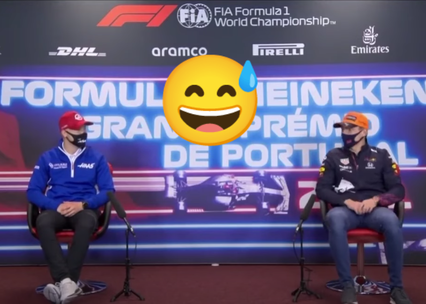 VIDEO: Funny Moment Between Verstappen & Mazepin In Press Conference