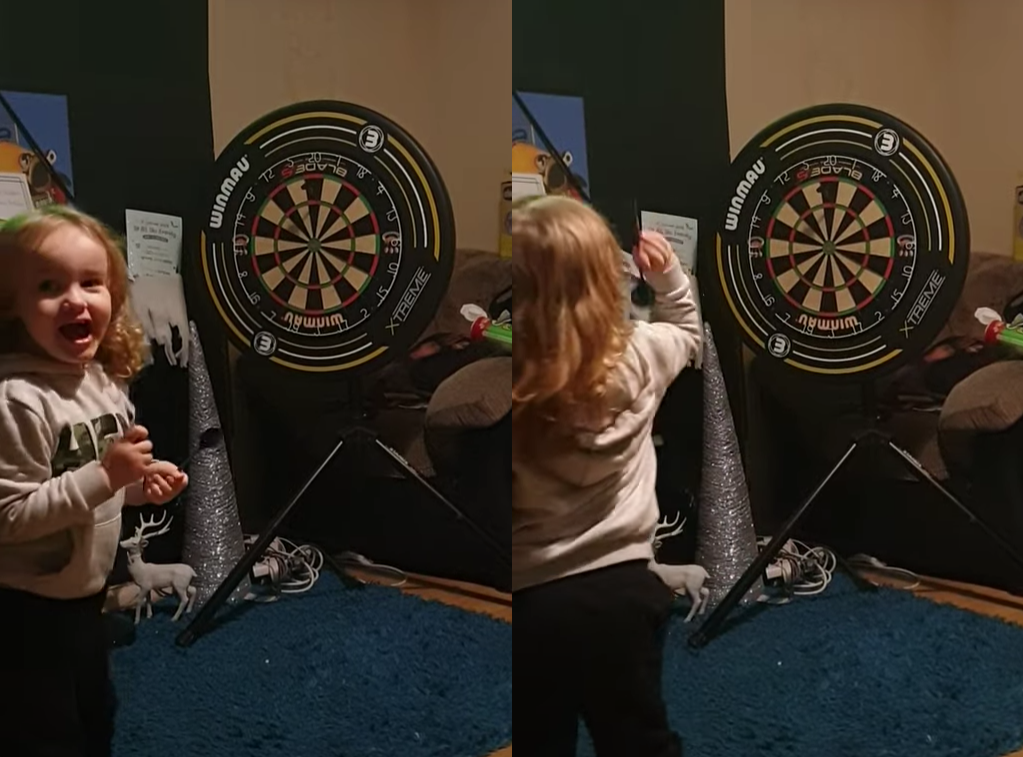 VIDEO: This 3 Year Old Kid Turns Out To Be A Pro In Darts