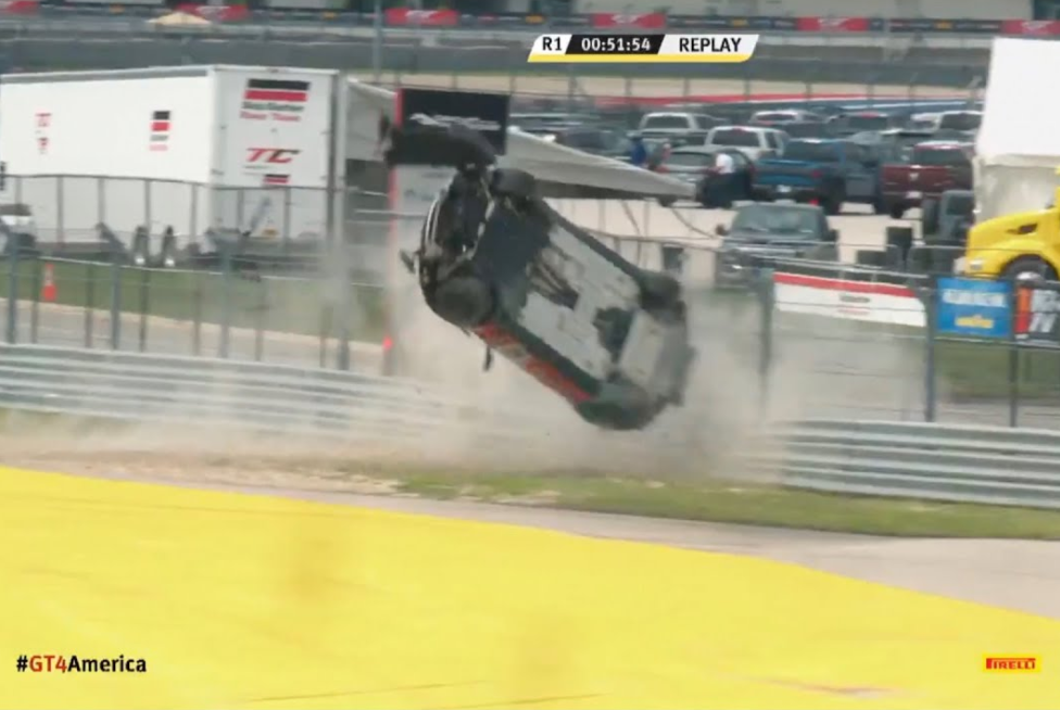 VIDEO: Massive Brake Failure GT4 Crash At Circuit of the Americas