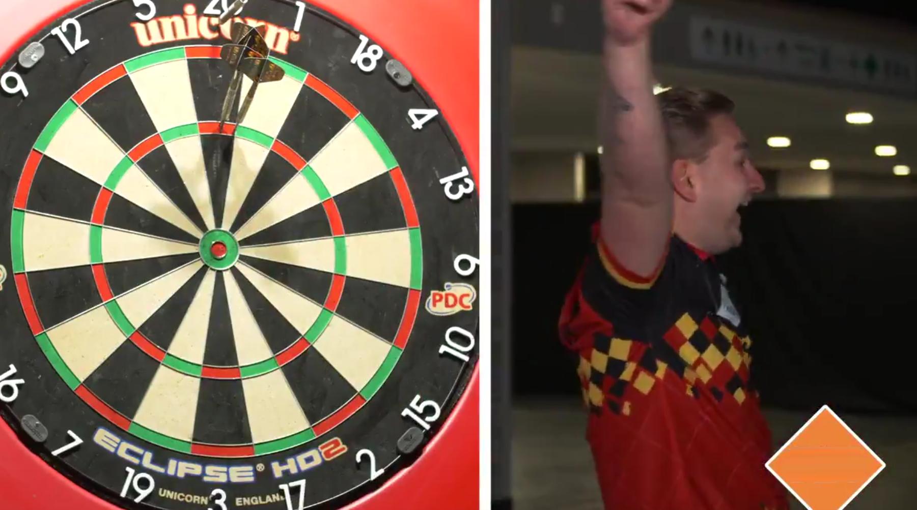VIDEO: Dimitri van den Bergh Beats Van Gerwen's Blind Darts Record