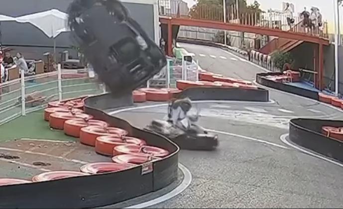 VIDEO: Bizarre Airborne Karting Crash On Narrow Track