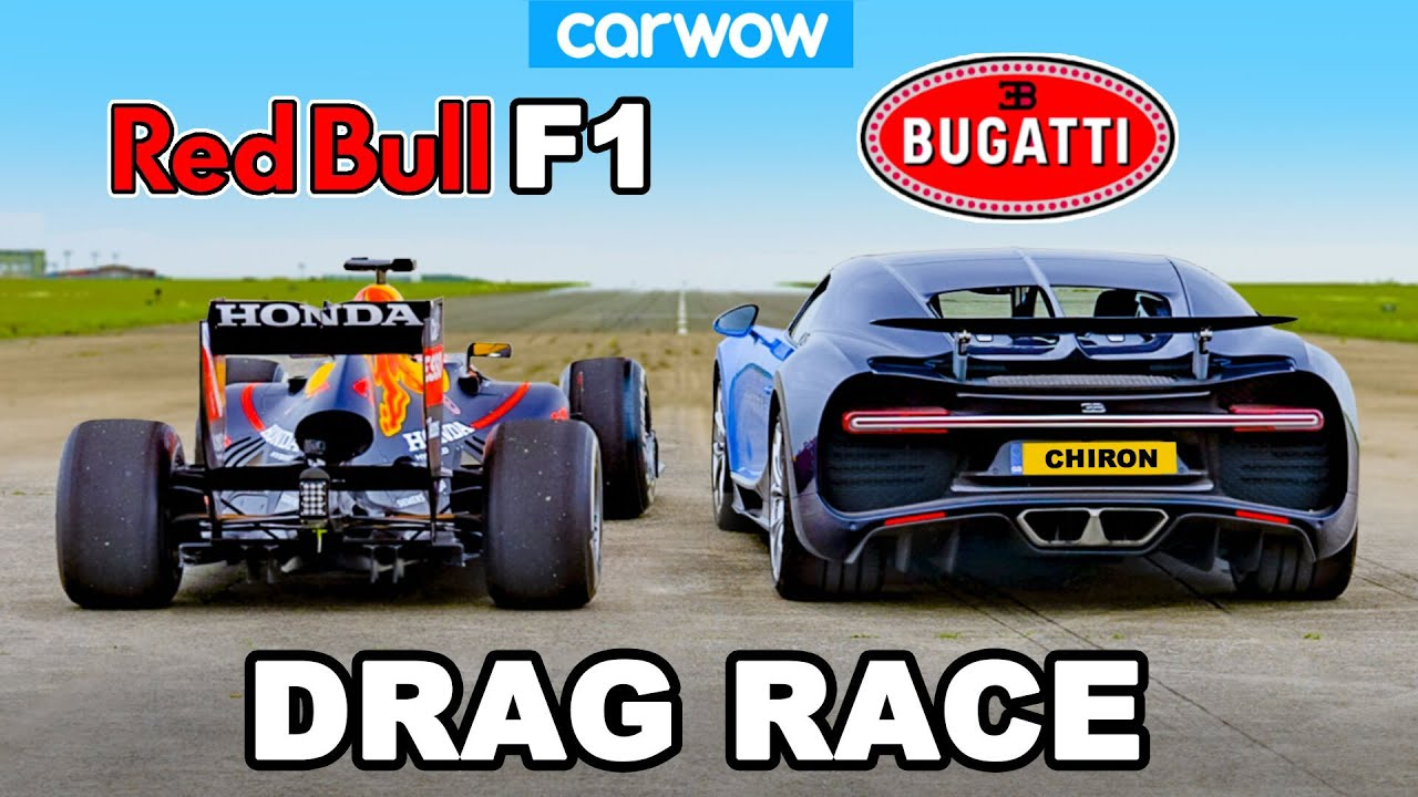 Footage of Drag Race Between Red Bull F1 Car vs Bugatti Chiron