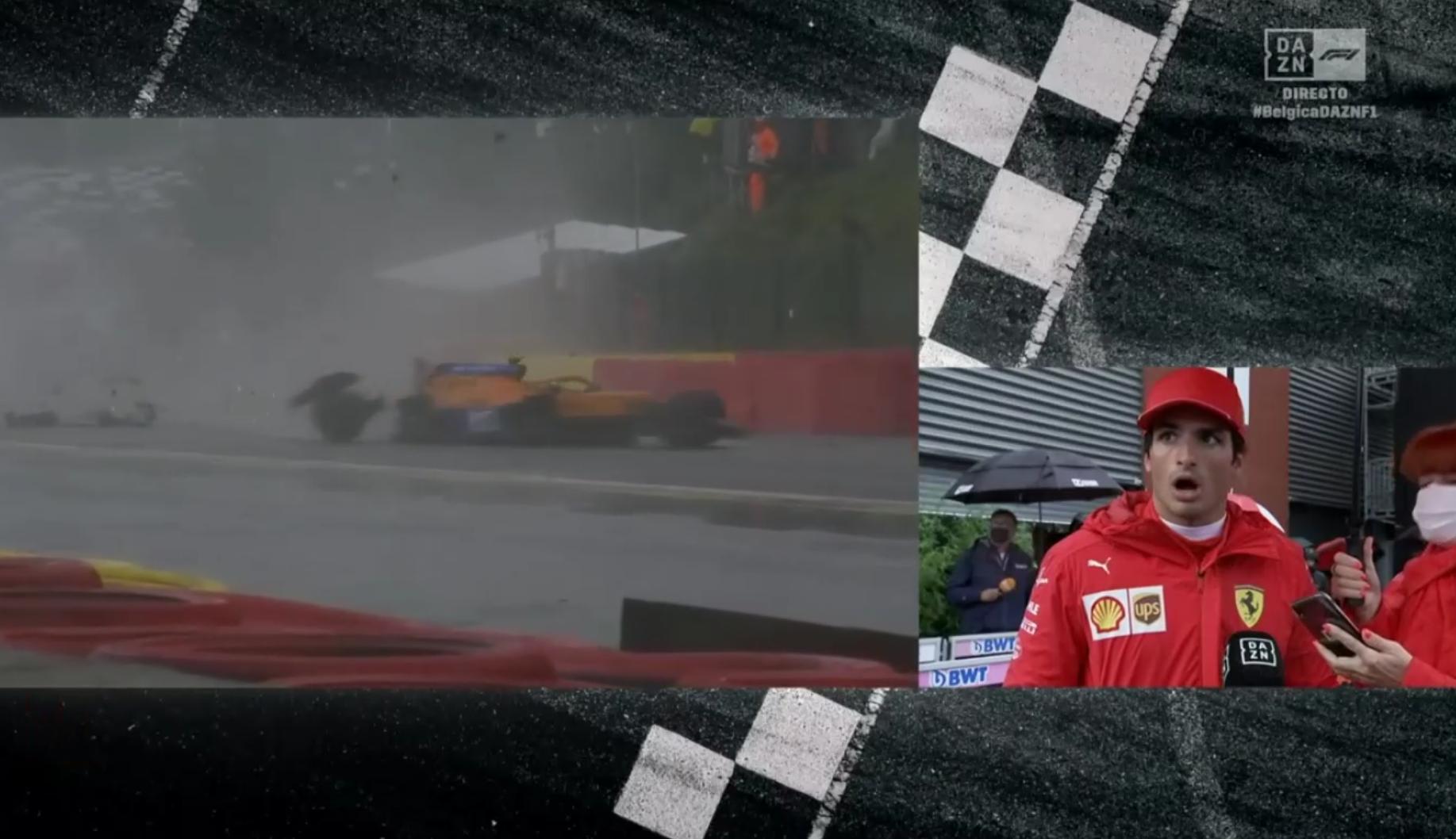 VIDEO: Carlos Sainz's Reaction When He Spotted Lando's Crash Live