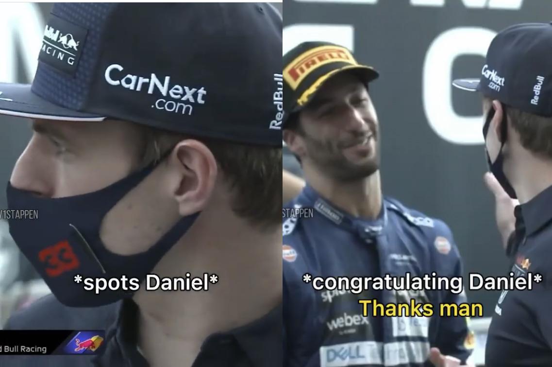 VIDEO: Max Verstappen Stops His Interview To Congratulate Daniel Ricciardo