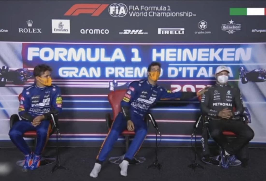 VIDEO: Daniel Ricciardo's Shoey Moment With Valtteri Bottas In Press Conference